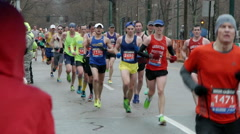 Crowds Runners Boston 2015 Marathon - stock footage