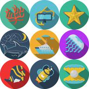Flat color vector icons for sea leisure Stock Illustration