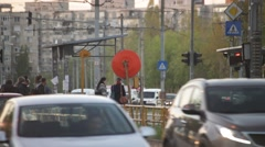 Streetcar Arriving Stop Back View Stock Footage