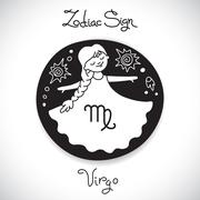 Virgo zodiac sign of horoscope circle emblem in cartoon style Stock Illustration