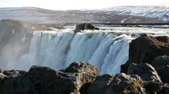 Pan from the Godafoss waterfall in Iceland Stock Footage