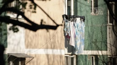Window Hanging Laundry Line Drying Stock Footage