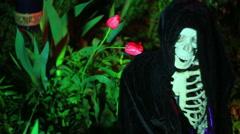 Weird skeleton thing garden Stock Footage