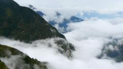 Panning shot of Foggy Himalayas mountains. Nepal, Langtang national park Stock Footage