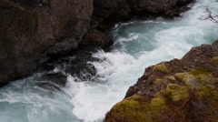 Close up from a stream of the Hraunfossar waterfalls in western Iceland Stock Footage