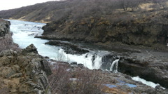 Hraunfossar waterfalls in western Iceland Stock Footage