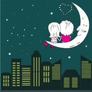 Loving couple man and woman sitting on the moon in the night cit - stock illustration