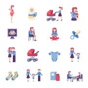 Motherhood Flat Icons Set Stock Illustration