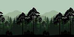 Seamless Landscape, Trees and Mountain Silhouettes - stock illustration