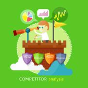 Competitor Analysis Concept - stock illustration