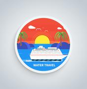 Stock Illustration of Cruise Ship and Clear Blue Water. Water Tourism