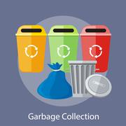 Stock Illustration of Garbage and Recycling Cans Collection