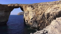 Gozo Azure Window Height, Malta Islands - stock footage