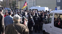4k Pegida demonstration and crowded crowd anti-demo Braunschweig Stock Footage