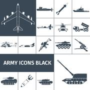 Stock Illustration of Army Icons Black