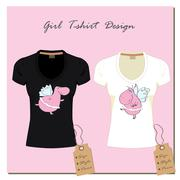 white and black design girl's T-shirts, with the label, vector. - stock illustration