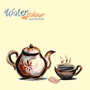 teapot and tea cup on white background , watercolo - stock illustration