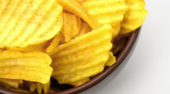 Potato chips, close-up - the rotation Stock Footage
