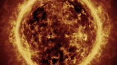 The sun texured surface in a close-up, solar activity animation Stock Footage