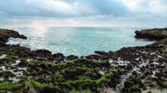 Ocean's waves breaking on the reef shore Stock Footage