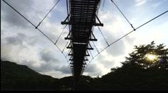 "Famous hanging bridge in Sabah, North Borneo ""Jambatan Tamparuli"". Stock Footage"