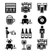 Pub, drinking alcohol, beer belly icons set Stock Illustration