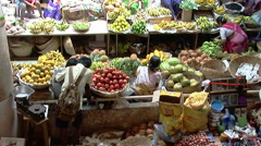 People on fruit and vegetable local market in Goa, India - stock footage