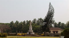Statue of Jesus Christ near by The Se Cathedral de Santa Catarina in Goa, India Stock Footage