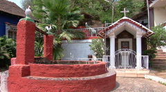 Old portuguese court yard with chapel in Goa, India Stock Footage