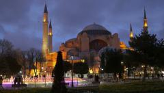 Hagia Sophia and fountain at night Stock Footage