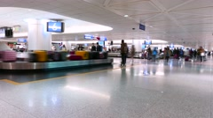 Transporter with baggage, arrival lounge, airport, TIMELAPSE - stock footage