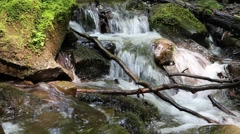 Beautiful small brook and stones with green moss (sound) Stock Footage