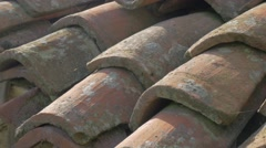 Ancient roofing materials  made of clay 4K 2160p UHD panning  footage - Roof Stock Footage