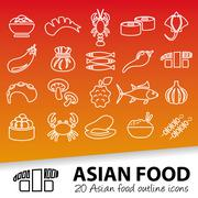 Asian food outline icons Stock Illustration