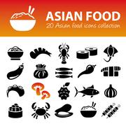 Asian food icons Stock Illustration