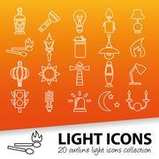 Light outline icons Stock Illustration