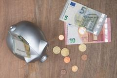 Buisness, banking and savings concept -   money into small grey piggy bank - stock photo