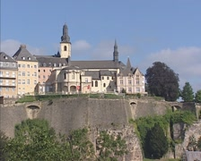 LUXEMBOURG CITY: Medieval fortifications + skyline Saint Michaels Church Stock Footage