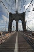 Brooklyn bridge without people walking - stock photo