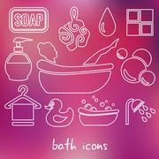 Bath outline icons Stock Illustration