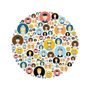 people head icons in circle - stock illustration