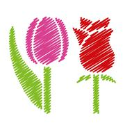 handwriting flower pictures - stock illustration