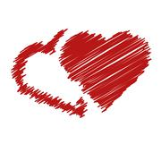 handwriting hearts - stock illustration