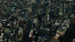 Aerial View building skyscrapers river Japan Tokyo Stock Footage