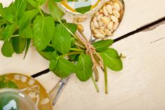Arab traditional mint and pine nuts tea - stock photo