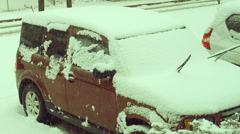 Cars in snow Stock Footage