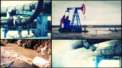 Industrial toxic pollution multiscreen collage Thermal Pipes Energy waste Stock Footage