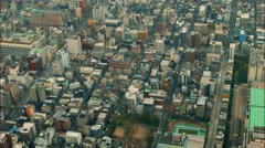 aerial view buildings  district Tokyo Japan - stock footage