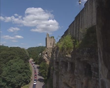 View along the loopholes of the Bock casemates + zoom in remains of a tower Stock Footage