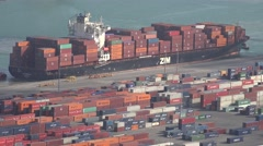 ULTRA HD 4K Aerial view cargo ship bay container port goods freight commercial  - stock footage